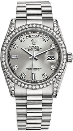 replique Montre bracelet Rolex Day-Date 36 Silver Diamond President 118389