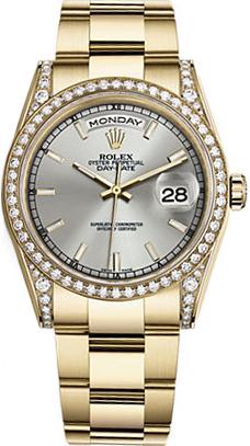 replique Montre bracelet Rolex Day-Date 36 cadran argenté or huître 118388