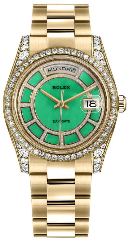 replique Montre bracelet Rolex Day-Date 36 cadran diamant vert Oyster 118388