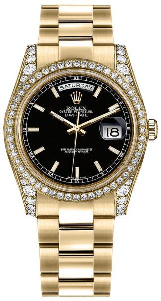 replique Montre bracelet Rolex Day-Date 36 cadran noir Oyster or 118388