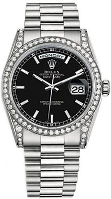 replique Montre bracelet Rolex Day-Date 36 cadran noir Président 118389