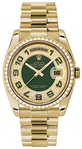 replique Montre bracelet Rolex Day-Date 36 diamant vert Président 118348