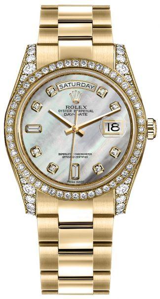 replique Montre bracelet Rolex Day-Date 36 en nacre et cadran diamant Oyster 118388
