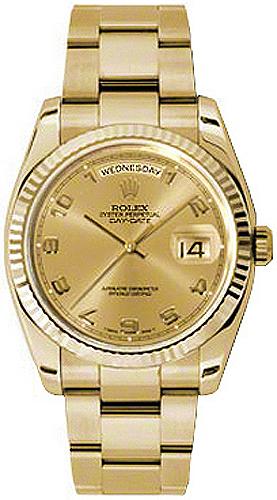 replique Montre bracelet Rolex Day-Date 36 lunette cannelée Oyster 118238