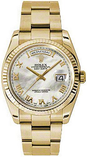 replique Montre bracelet Rolex Day-Date 36 nacre romaine Oyster 118238
