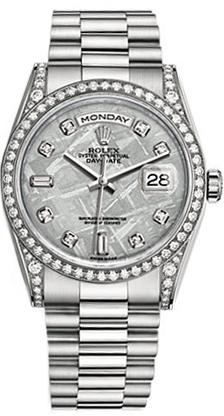 replique Montre-bracelet Rolex Day-Date en or blanc 36 diamants avec président 118389