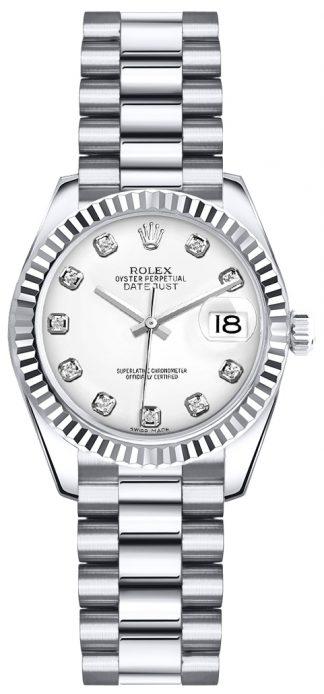 replique Montre-bracelet Rolex Lady-Datejust 26 à cadran blanc et diamant President 179179