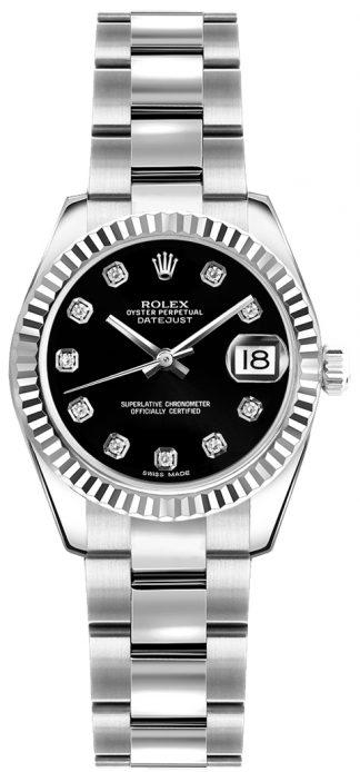 replique Montre bracelet Rolex Lady-Datejust 26 Black Diamond Oyster 179174