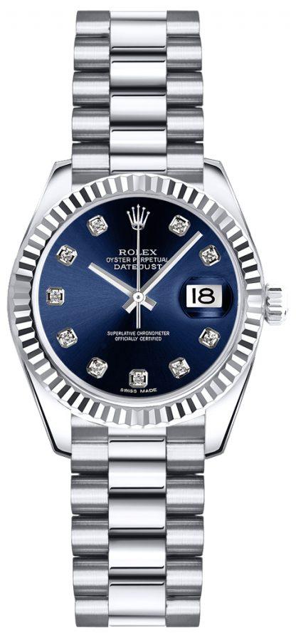 replique Montre bracelet Rolex Lady-Datejust 26 Blue Diamond President 179179