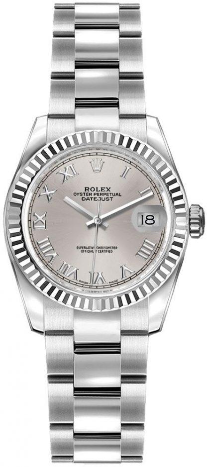 replique Montre bracelet Rolex Lady-Datejust 26 argent chiffre romain Oyster 179174