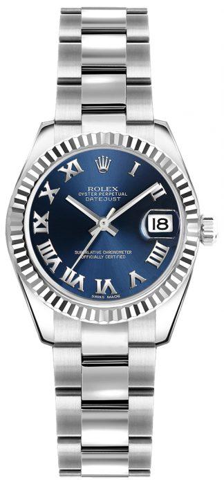 replique Montre bracelet Rolex Lady-Datejust 26 bleu chiffre romain Oyster 179174