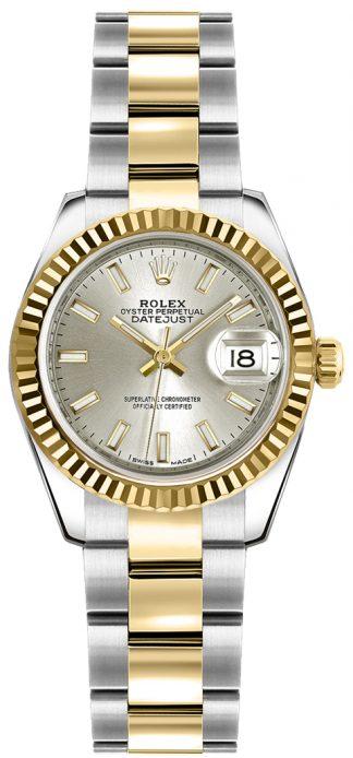 replique Montre bracelet Rolex Lady-Datejust 26 cadran argenté Oyster 179173
