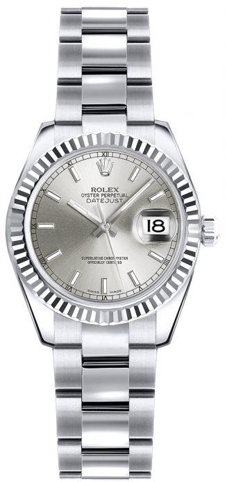 replique Montre bracelet Rolex Lady-Datejust 26 cadran argenté Oyster 179179