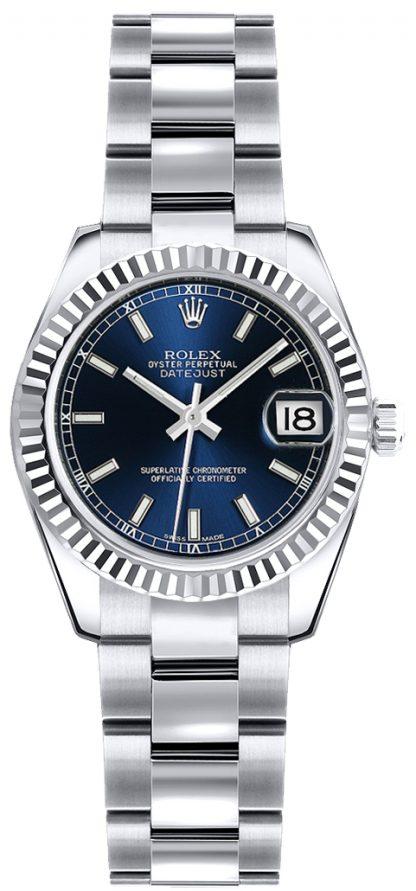 replique Montre bracelet Rolex Lady-Datejust 26 cadran bleu Oyster 179179