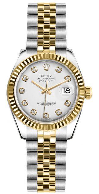 replique Montre bracelet Rolex Lady-Datejust 26 diamant blanc jubilé 179173