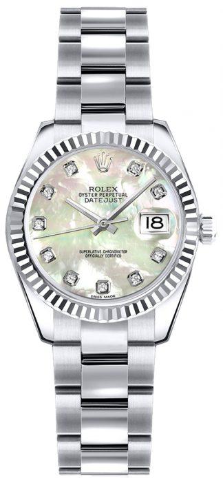 replique Montre bracelet Rolex Lady-Datejust 26 en nacre et diamant Oyster 179179