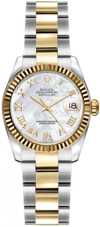 replique Montre bracelet Rolex Lady-Datejust 26 nacre romaine chiffre huître 179173