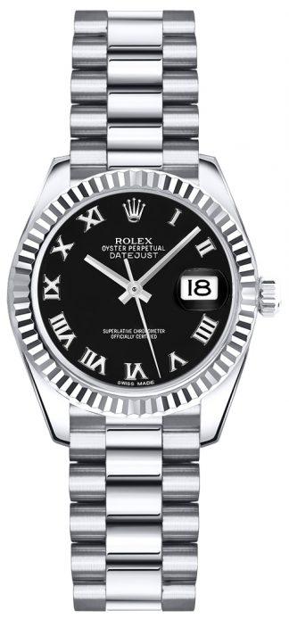replique Montre bracelet Rolex Lady-Datejust 26 noire avec chiffres romains et président 179179