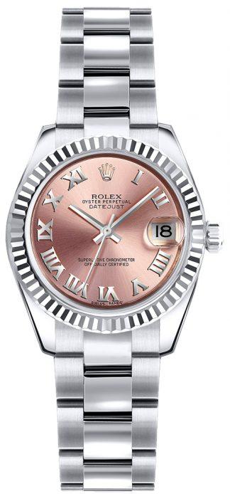 replique Montre bracelet Rolex Lady-Datejust 26 rose chiffre romain Oyster 179179