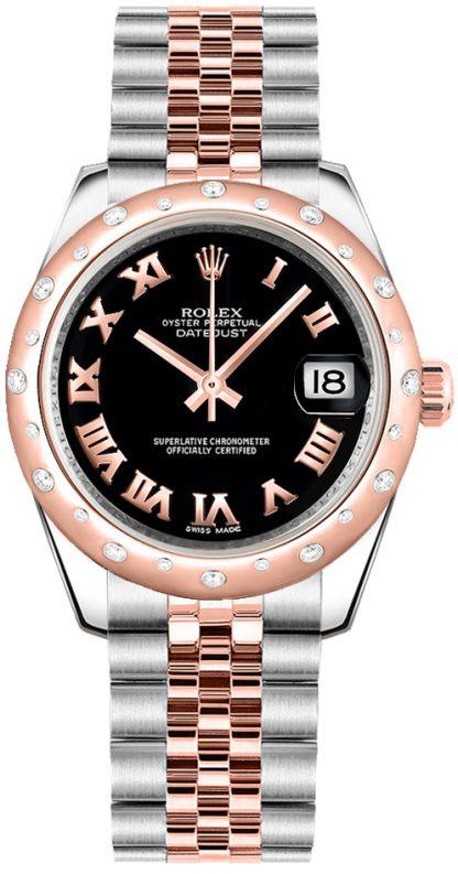 replique Montre bracelet jubilé Rolex Datejust 31 noir chiffres romains 178341