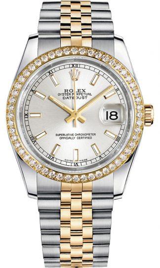 replique Montre bracelet jubilé Rolex Datejust 36 cadran argenté 116243