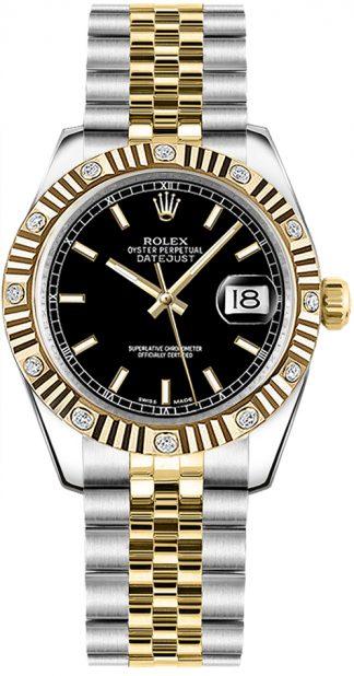 replique Montre bracelet jubilé cadran noir Rolex Datejust 31 178313
