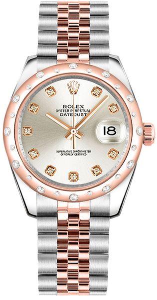 replique Montre bracelet jubilé de diamant en argent Rolex Datejust 31 178341