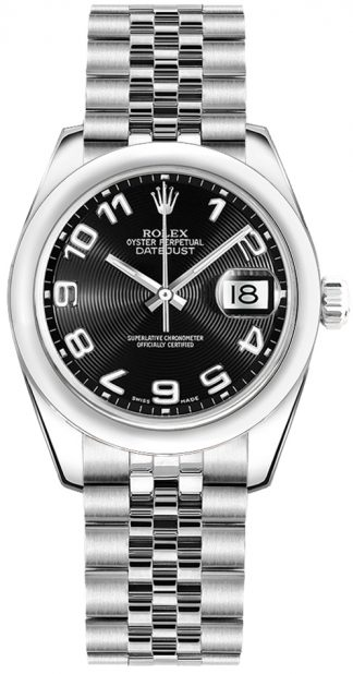 replique Montre cadran noir Rolex Datejust 31 Concentric Circle 178240