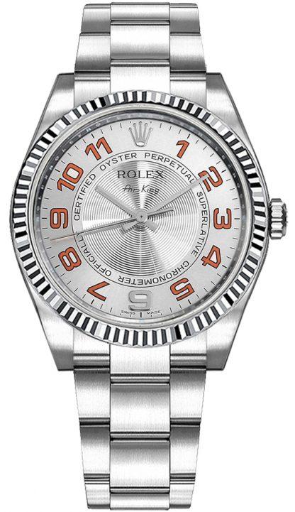 replique Montre de luxe à cadran argenté Rolex Oyster Perpetual Air-King 114234