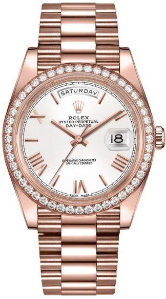replique Montre de luxe pour homme Rolex Day-Date 40 cadran blanc 228345RBR