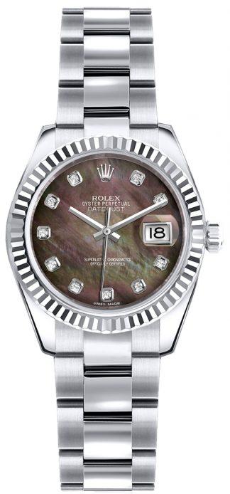 replique Montre diamant Rolex Lady-Datejust 26 en or blanc massif 18 carats 179179