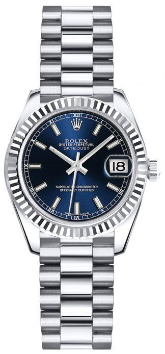 replique Montre en or pour femme Rolex Lady-Datejust 26 à cadran bleu 179179