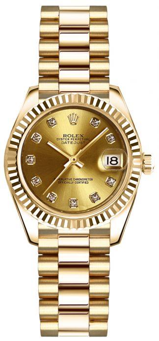 replique Montre en or pour femme Rolex Lady-Datejust 26 179178