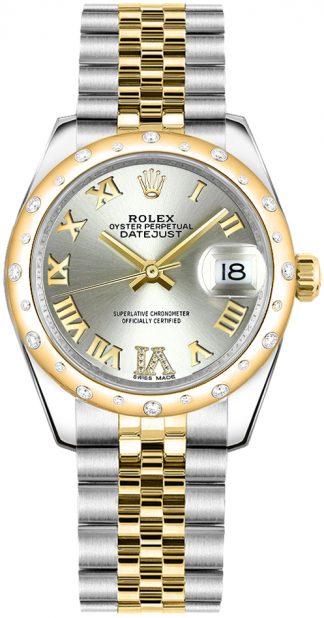 replique Montre femme Rolex Datejust 31 cadran argenté diamant 178343