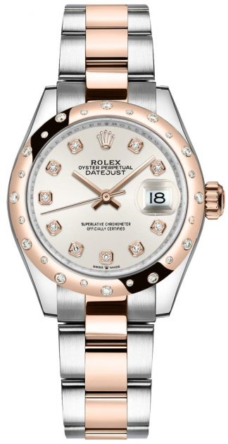 replique Montre femme Rolex Datejust 31 cadran argenté or 18 carats Everose 278341RBR