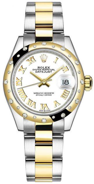 replique Montre femme Rolex Datejust 31 cadran blanc chiffres romains 278343RBR