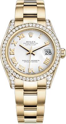 replique Montre femme Rolex Datejust 31 cadran blanc diamant 178158