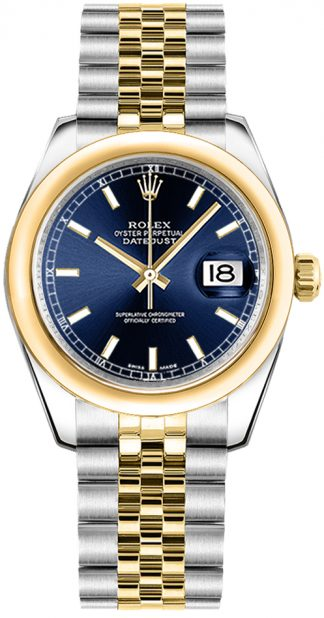 replique Montre femme Rolex Datejust 31 cadran bleu or et acier 178243
