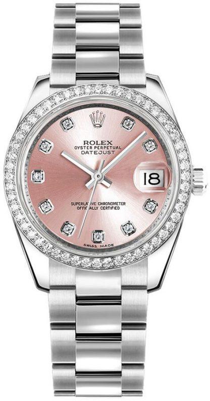replique Montre femme Rolex Datejust 31 cadran diamant rose 178384