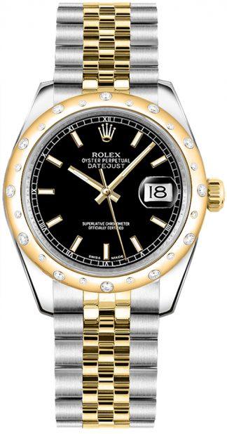 replique Montre femme Rolex Datejust 31 cadran noir or et acier 178343