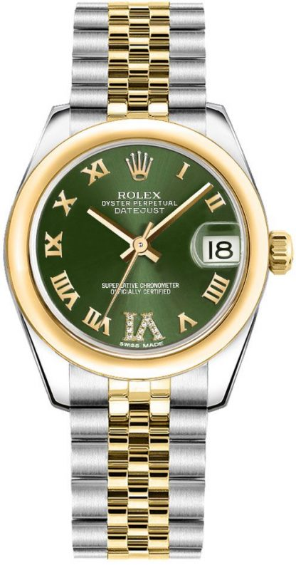replique Montre femme Rolex Datejust 31 cadran vert 178243