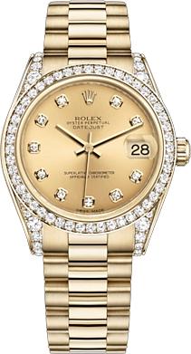 replique Montre femme Rolex Datejust 31 en or 18 carats 178158