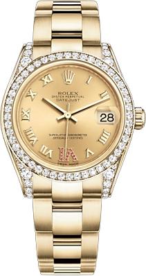 replique Montre femme Rolex Datejust 31 en or jaune 18 carats 178158