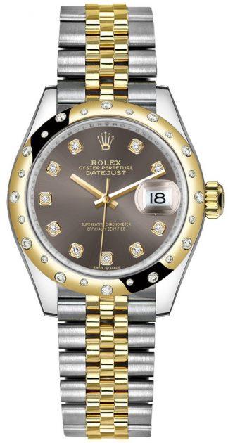 replique Montre femme Rolex Datejust 31 en or jaune 18 carats et acier 278343RBR