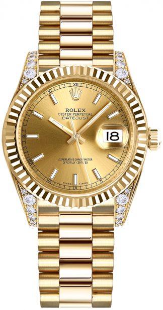 replique Montre femme Rolex Datejust 31 en or jaune massif 178238