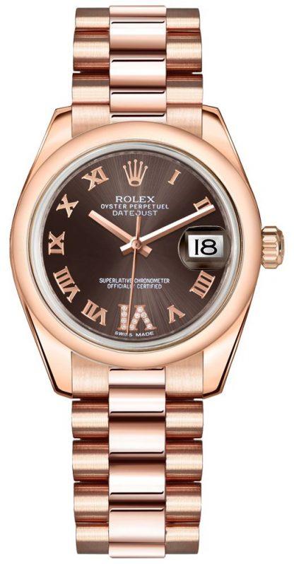 replique Montre femme Rolex Datejust 31 en or rose 178245