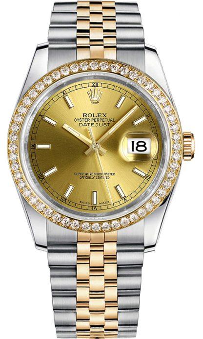 replique Montre femme Rolex Datejust 36 cadran champagne 116243