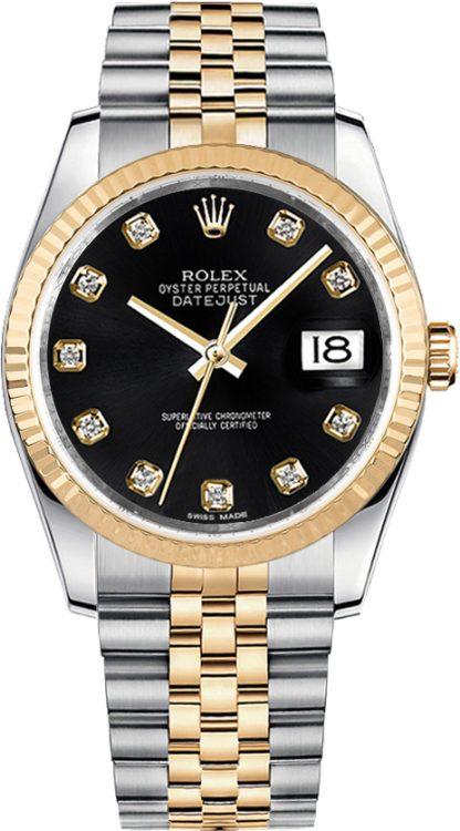 replique Montre femme Rolex Datejust 36 or et acier cadran noir diamant 116233