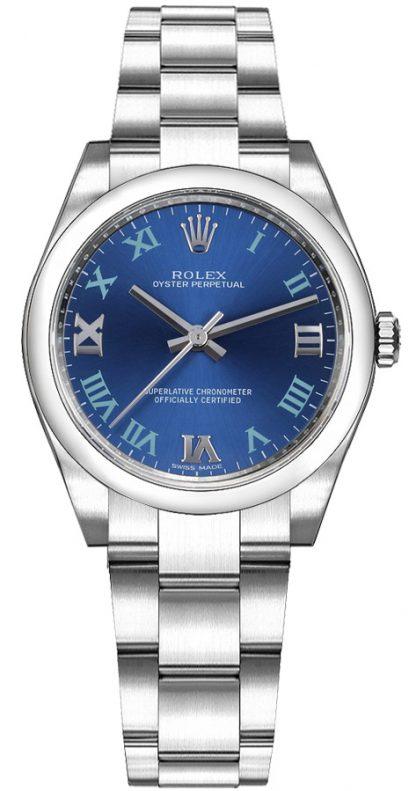 replique Montre femme Rolex Oyster Perpetual 31 cadran bleu 177200