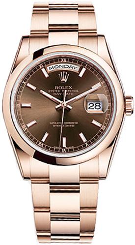 replique Montre homme Rolex Day-Date 36 à lunette bombée 118205